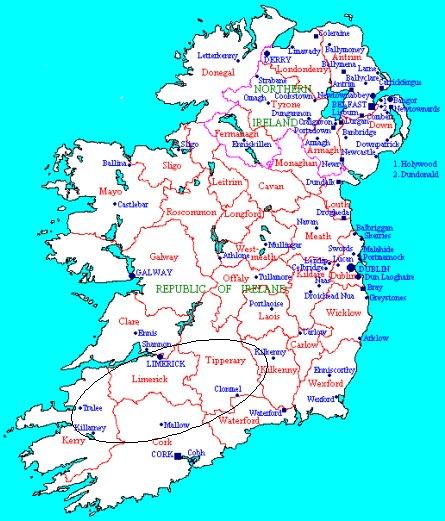 Map of Munster Baronies - Ireland Barony